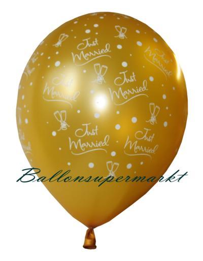 Just Married, goldene Luftballons zur Hochzeit