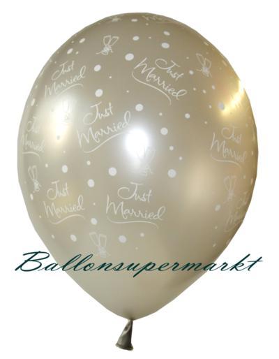Hochzeit Luftballons, Silber, Aufruck Just Married, Sektgläder und Sektperlen