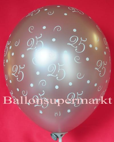 Luftballone zur Silberhochzeit, Zahl 25 für 25 Jahre Ehe
