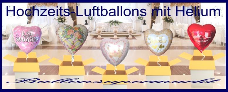 Hochzeits-Luftballons mit Helium, zum Versand im Karton auf Ihre Hochzeit